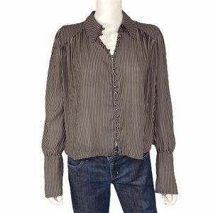 Free People Brown White Striped Top Size XS